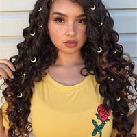 Long Black Brown Mixed Curly Synthetic Lace Front Wig