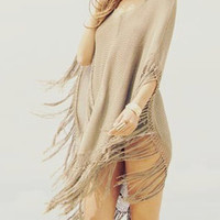 Khaki Knitted Tassels Poncho Cover Up Blouse