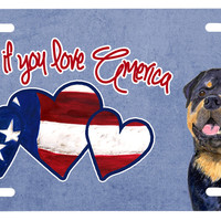 Woof if you love America Rottweiler License Plate SS5036LP