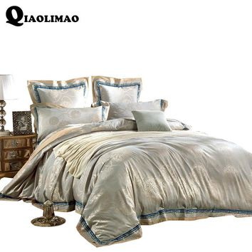 Cool 4/6 Pieces King Queen Size Luxury Sateen Jacquard Bedding Home Decorative Bed Cotton Duvet Cover Set Wedding Bed Sheet Set GiftsAT_93_12