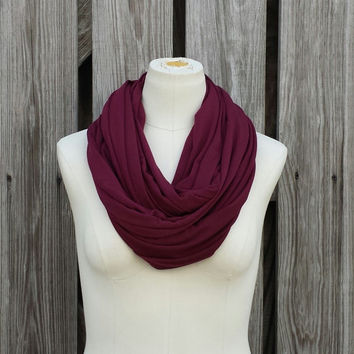 Burgundy Infinity Scarf - Oxblood Eternity Scarf - Maroon Scarf - Bamboo Jersey Knit - Circle of Love