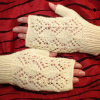 Romantic Lace fingerless Gloves, knit wool arm warmers, wrist warmers, fingerless mittens, wedding gloves, knitted armwarmers, lace gloves
