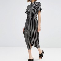 Style London Midi Shirt Dress In Stripe at asos.com