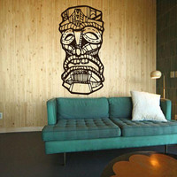 Hawaiian Tiki Dude with unique vintage look - very detailed- vinyl wall art decals graphic sticker by 3rdaveshore