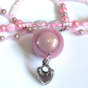 Pink chandelier necklace choker collar heart