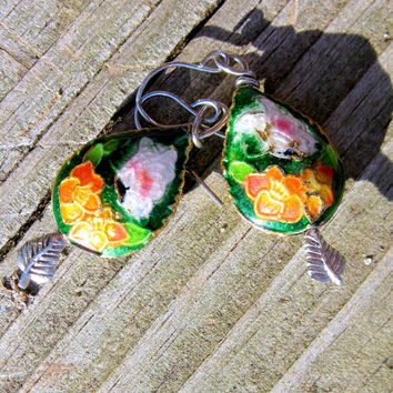 Spring Butterfly Cloisonne Earrings