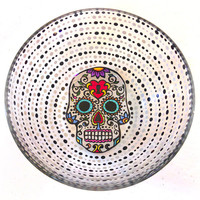 Sugar Skull Bowls, Hand Painted Bowls, Skull Dinnerware, Day of the Dead, Calavera Dining Set, Calaveras, Dia De Los Muertos, Wedding Gift