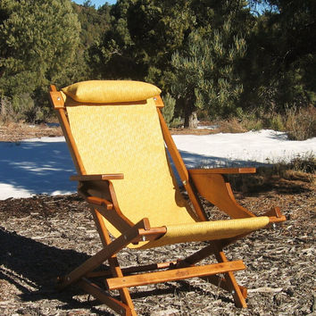 "Alder Wood Sling Chair in Yellow Outdoor Fabric, Arm Rests, Headrest, Handle, Camping, Patio, Deck, Pool ""Marley Prospector"" Folding Chair"