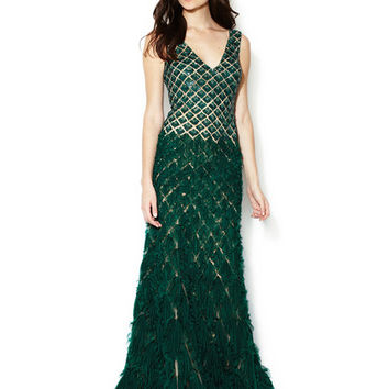 Beaded Bodice V-Neck Layered Ruffle Gown by Reem Acra at Gilt