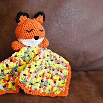 Crocheted Fox Security Blanket- Handmade Baby Blanket- Baby Toy- Fox Blanket-Fox Security Blanket