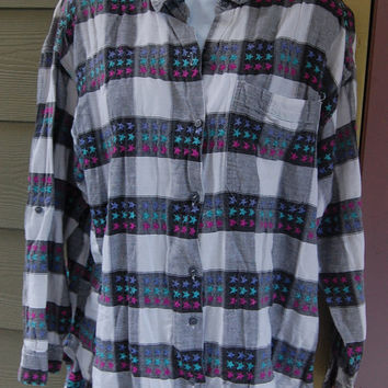 Vintage 80s 90s Marilyn Black & White Buffalo Plaid Check Stars Embroidered Long Sleeve Grunge Shirt Top Button Roll Sleeves Size 20  L/XL