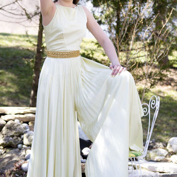Vintage 1960's Cream Satin Jersy Pleated Jumpsuit Hollywood Glam