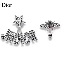 DIOR Fashion Women Diamond Letter Bee Stud Earrings Jewelry