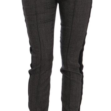 Gray Wool Stretch Striped High Waist Pants