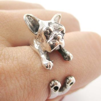 French Bulldog Shaped Animal Wrap Around Ring in 925 Sterling Silver | US Sizes 4 to 8