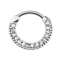 BodyJ4You Septum Piercing Clicker Pave Crystal Clear Gems 16G Piercing Jewelry