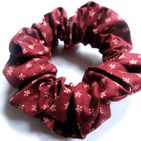 Red Burgundy Maroon Hair Scrunchie, Floral Cotton Scrunchie, Patterned Elastic Scrunchie