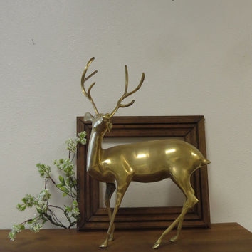 "Large 6 Point Brass Deer Figurine 18""."