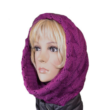 Knitted Cowl Scarf - Women's Winter Knit Hooded Scarf