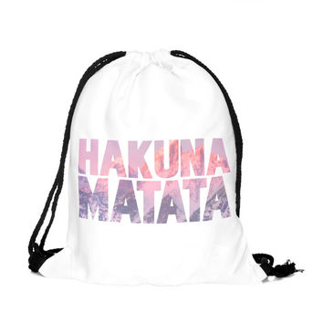 Drawstring Backpack in hakuna matata pattern in pink color for string bag
