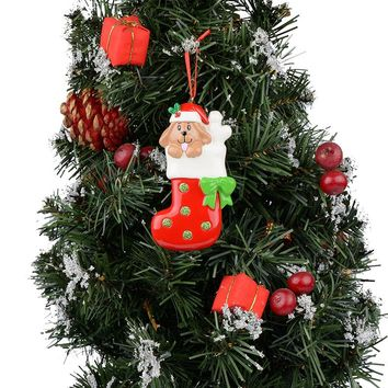 Resin Dog Stocking Tree Ornament