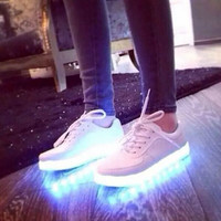 2016 New 7 Colors Luminous Led Light Shoe Men Women Fashion USB Rechargeable Light Led Shoes For Adults Casual Shoes Size 35-46