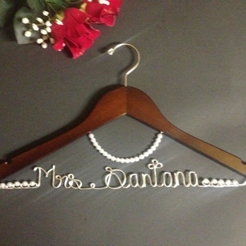 Personalized Bridal Hanger with necklace, Wedding hanger.Season's Deals Gift surprise for HER or HIM on all orders over 70 dollars