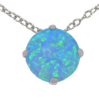 8mm Blue Opal Heart Pendant .925 Sterling Silver Rhodium Finish White Gold Quality