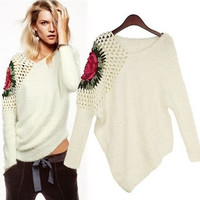 Stunning One Shoulder Flower Knitted Asymmetrical Pullover Sweater = 1919940868