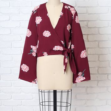 Burgundy Floral Wrap Blouse