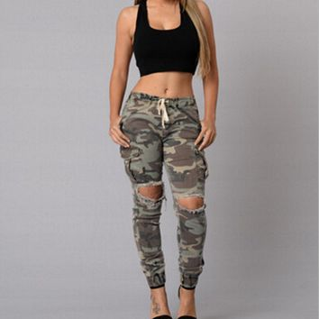 Large size women's camouflage hole jeans female hole jeans female feet pants