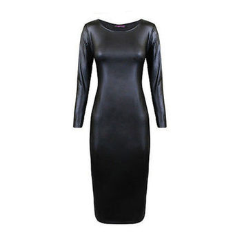 Women Faux Leather Midi Party Dress Sexy Bodycon Long Sleeve Evening Clubwear