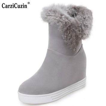 CarziCuzin Size 34-43 Women Thick Fur Mid Calf Snow Boots Women Height Increasing Slip On Shoes Women Warm Plush Winter Botas