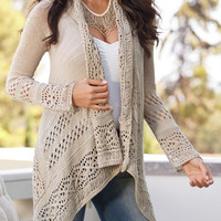 Light Brown Collarless Cut Out Long Sleeve Cardigan