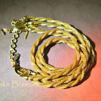 MONET Mesh Necklace 3 Multi Strand Gold-Plate Twisted Vintage