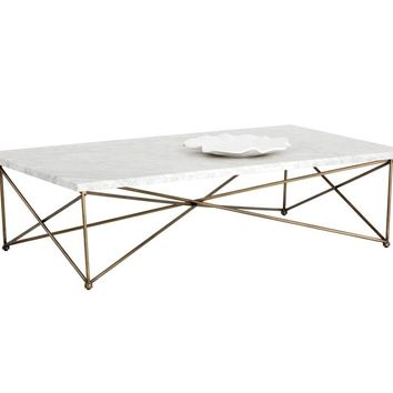 SKY ANTIQUE BRASS FINISH FRAME WITH CARRARA TOP COFFEE TABLE