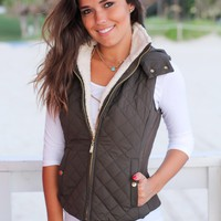 Olive Quilted Vest with Fur Collar