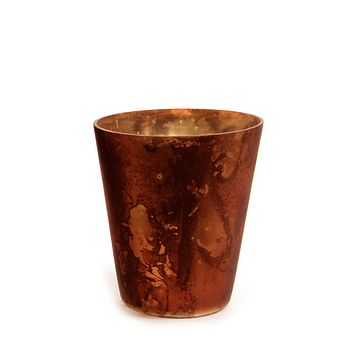 "4"" Rich Elegance Copper Orange Antique Glass Christmas Tea Light or Votive Candle Holder"