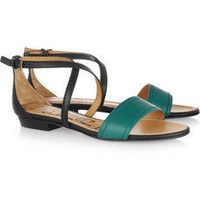 Lanvin | Two-tone leather sandals  | NET-A-PORTER.COM