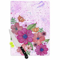 "Julia Grifol ""My Garden In Pink"" Magenta Floral Cutting Board"