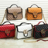GUCCI hot selling fashion patchwork sewing thread double G button chain shoulder bag