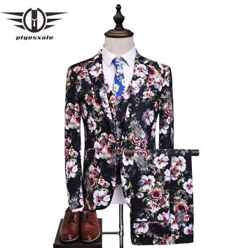Men Suit New Classic Slim Fit 3 Piece Wedding Suits For Men Flower Pattern Floral Print Stage Prom Suit