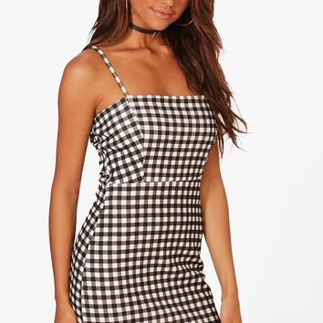 Penny Gingham Square Neck A-Line Dress | Boohoo