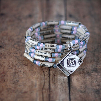 Julie and Julia Paper Book Bead Bracelet - Spiral Wrap Bracelet - Memory Wire