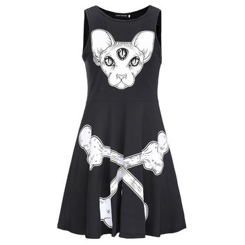 Fashion Gothic Black Women Dress Aline Pullover Skull Print