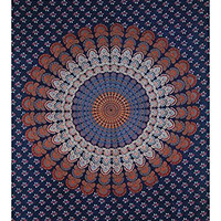 MoonSunGuru® Indian Droplet Style Twin Hanging Tapestry - Floral block print wall hanging (Navy Blue)