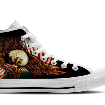 Eagle and American Flag High Top Shoes
