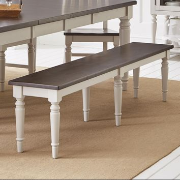 """Wooden 76"""" Bench With Angular Style Pedestal Feet, Dark Brown And Soft Gray - BM183998"""