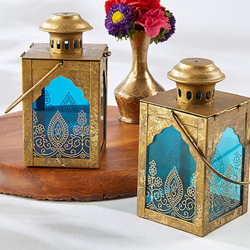 Antiqued-Gold Indian Jewel Moroccan Tealight Candle Lantern Henna-Style Print Bohemian Boho Table Centerpiece Wedding Bridal Shower Events