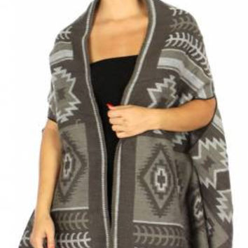 Aztec Print Woven Cape  One Size in 4 Colors
